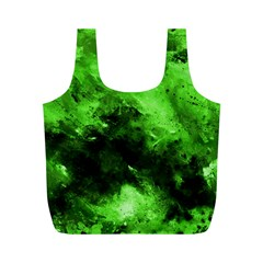 Bright Green Abstract Full Print Recycle Bags (m)  by timelessartoncanvas