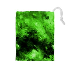Bright Green Abstract Drawstring Pouches (large)