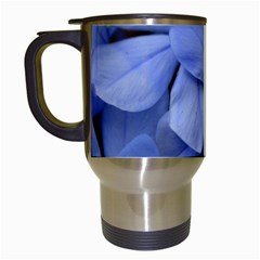 Bright Blue Flowers Travel Mugs (white) by timelessartoncanvas