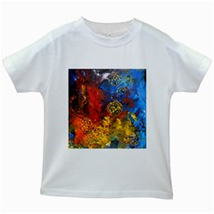 Space Pollen Kids White T Shirts by timelessartoncanvas