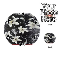 Black And White Lilies Playing Cards 54 (round)  by timelessartoncanvas