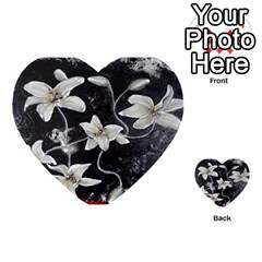 Black And White Lilies Multi-purpose Cards (heart)  by timelessartoncanvas