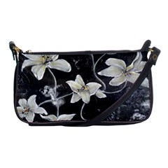 Black And White Lilies Shoulder Clutch Bags by timelessartoncanvas