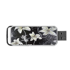 Black And White Lilies Portable Usb Flash (two Sides) by timelessartoncanvas