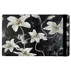 Black And White Lilies Apple Ipad 2 Flip Case by timelessartoncanvas