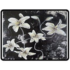 Black And White Lilies Double Sided Fleece Blanket (large)  by timelessartoncanvas
