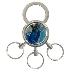 Blue Abstract 3 Ring Key Chains