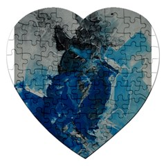 Blue Abstract Jigsaw Puzzle (heart)
