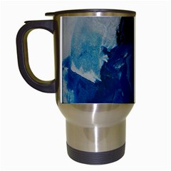 Blue Abstract Travel Mugs (white) by timelessartoncanvas