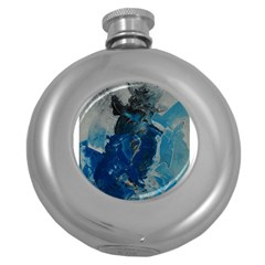 Blue Abstract Round Hip Flask (5 Oz)