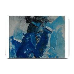 Blue Abstract Small Doormat  by timelessartoncanvas