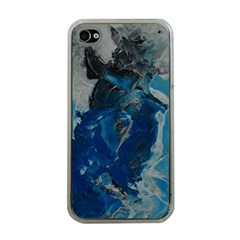 Blue Abstract Apple Iphone 4 Case (clear) by timelessartoncanvas