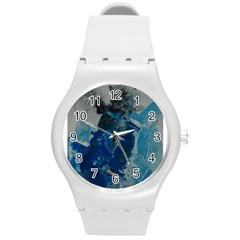 Blue Abstract Round Plastic Sport Watch (m)