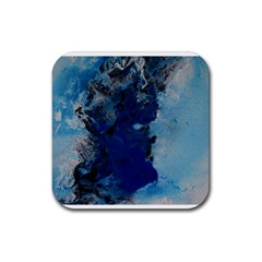 Blue Abstract No 2 Rubber Coaster (square)