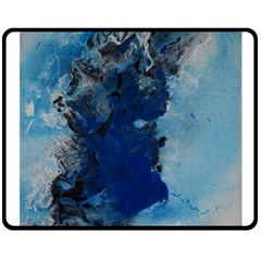 Blue Abstract No 2 Double Sided Fleece Blanket (medium)  by timelessartoncanvas
