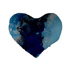 Blue Abstract No 2 Standard 16  Premium Flano Heart Shape Cushions by timelessartoncanvas