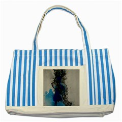 Blue Abstract No 3 Striped Blue Tote Bag  by timelessartoncanvas