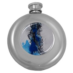 Blue Abstract No 3 Round Hip Flask (5 Oz)