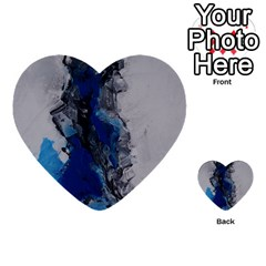 Blue Abstract No 3 Multi Purpose Cards (heart)