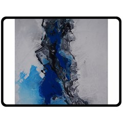 Blue Abstract No 3 Double Sided Fleece Blanket (large)  by timelessartoncanvas
