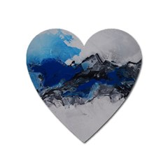 Blue Abstract No 4 Heart Magnet