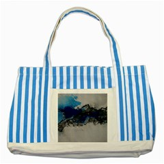 Blue Abstract No 4 Striped Blue Tote Bag  by timelessartoncanvas