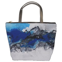 Blue Abstract No 4 Bucket Bags by timelessartoncanvas