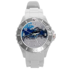 Blue Abstract No 4 Round Plastic Sport Watch (l)