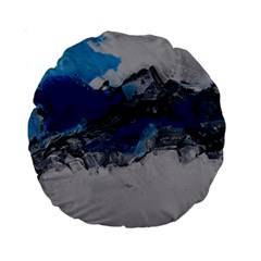 Blue Abstract No 4 Standard 15  Premium Round Cushions by timelessartoncanvas