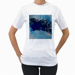 Blue Abstract No 5 Women s T-shirt (white) (two Sided) by timelessartoncanvas