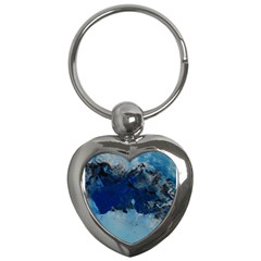 Blue Abstract No 5 Key Chains (heart)