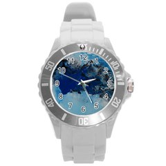 Blue Abstract No 5 Round Plastic Sport Watch (l) by timelessartoncanvas