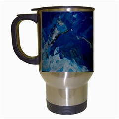 Blue Abstract No  6 Travel Mugs (white)