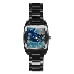 Blue Abstract No  6 Stainless Steel Barrel Watch by timelessartoncanvas
