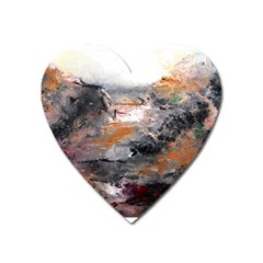 Natural Abstract Landscape Heart Magnet by timelessartoncanvas