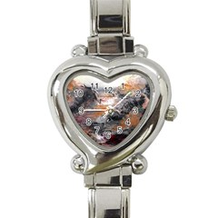 Natural Abstract Landscape Heart Italian Charm Watch by timelessartoncanvas