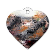 Natural Abstract Landscape Dog Tag Heart (two Sides)