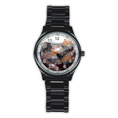 Natural Abstract Landscape Stainless Steel Round Watches