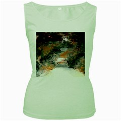 Natural Abstract Landscape No  2 Women s Green Tank Tops by timelessartoncanvas