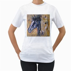 2 Horses Women s T Shirt (white) (two Sided) by timelessartoncanvas