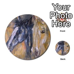 2 Horses Multi Purpose Cards (round)  by timelessartoncanvas