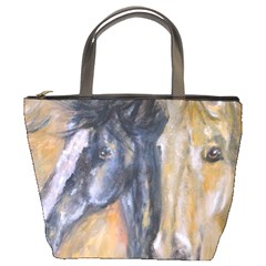 2 Horses Bucket Bags by timelessartoncanvas