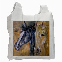 2 Horses Recycle Bag (one Side) by timelessartoncanvas