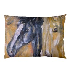 2 Horses Pillow Cases (two Sides) by timelessartoncanvas
