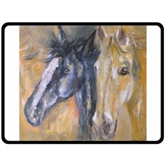 2 Horses Double Sided Fleece Blanket (large)  by timelessartoncanvas