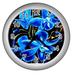 Bright Blue Abstract Flowers Wall Clocks (silver)  by timelessartoncanvas