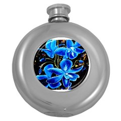 Bright Blue Abstract Flowers Round Hip Flask (5 Oz) by timelessartoncanvas