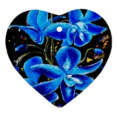 Bright Blue Abstract Flowers Heart Ornament (2 Sides)