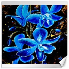 Bright Blue Abstract Flowers Canvas 16  X 16
