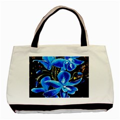 Bright Blue Abstract Flowers Basic Tote Bag (two Sides)  by timelessartoncanvas